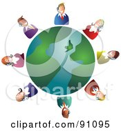 Royalty Free RF Clipart Illustration Of A Customer Service Team Around A Globe by Prawny