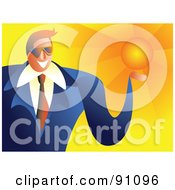 Royalty Free RF Clipart Illustration Of A Friendly Businessman Holding The Sun by Prawny