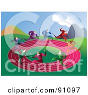 Royalty Free RF Clipart Illustration Of Businessmen Racing On A Round Pink Track