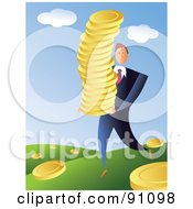 Businessman Harvesting Golden Coins In A Field