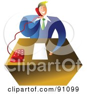 Royalty Free RF Clipart Illustration Of A Businessman Talking On A Telephone At His Desk