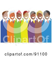 Royalty Free RF Clipart Illustration Of A Diverse Team Of Happy Men In Colorful Suits