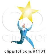 Royalty Free RF Clipart Illustration Of A Successful Businessman Carrying A Star