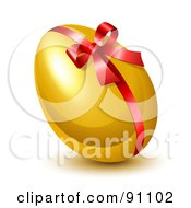 Shiny 3d Golden Easter Egg With A Red Ribbon And Bow