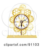 Royalty Free RF Clipart Illustration Of A Golden Skeleton Clock Under A Glass Dome