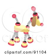 Royalty Free RF Clipart Illustration Of A Yellow And Pink Springy Robotic Dog by mheld