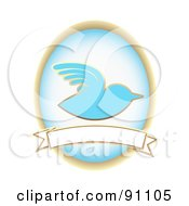 Blue Bird And Oval Over A Blank Banner