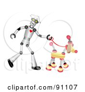Royalty Free RF Clipart Illustration Of A Male Robot Walking A Springy Dog by mheld