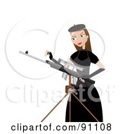 Royalty Free RF Clipart Illustration Of A Female Sharp Shooter Standing Beside A Tripod by mheld #COLLC91108-0107
