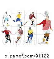 Royalty Free RF Clipart Illustration Of A Digital Collage Of Seven Athletic Male Soccer Players by leonid