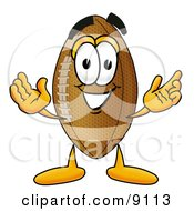 Clipart Picture Of A Football Mascot Cartoon Character With Welcoming Open Arms by Toons4Biz