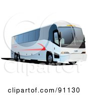 Royalty Free RF Clipart Illustration Of A Modern White And Red Coach Bus by leonid
