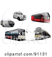 Royalty Free RF Clipart Illustration Of A Digital Collage Of A Convertible Car White Car City Buses And A Tram by leonid