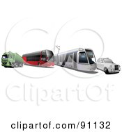 Royalty Free RF Clipart Illustration Of A Digital Collage Of A Big Rig Bus City Tram And Car