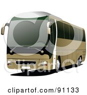 Royalty Free RF Clipart Illustration Of A Modern Brown Coach Bus by leonid