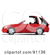 Royalty Free RF Clipart Illustration Of A Red Convertible Car Lowering Its Top by leonid