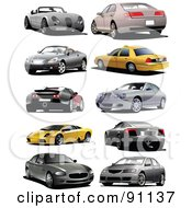 Royalty Free RF Clipart Illustration Of A Digital Collage Of Ten Cars by leonid