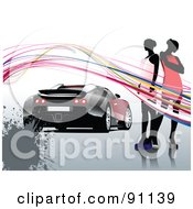 Royalty Free RF Clipart Illustration Of A Background Of Two Women And Waves Around A Sports Car With A Splatter by leonid