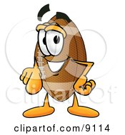 Clipart Picture Of A Football Mascot Cartoon Character Pointing At The Viewer by Toons4Biz