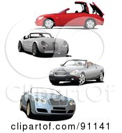 Royalty Free RF Clipart Illustration Of A Digital Collage Of Four Convertible Cars by leonid