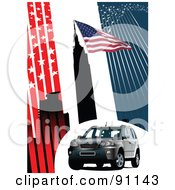 Royalty Free RF Clipart Illustration Of A Gray SUV On An American Background With Stars And Stripes