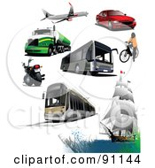 Royalty Free RF Clipart Illustration Of A Digital Collage Of A Plane Big Rig Motorcycle Bus Tram Boat Bicyclist And Car