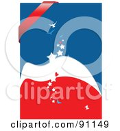 Royalty Free RF Clipart Illustration Of A Red White And Blue Star And Bird Background With A Red Banner by leonid