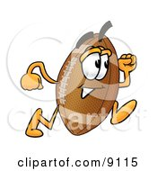 Clipart Picture Of A Football Mascot Cartoon Character Running by Toons4Biz