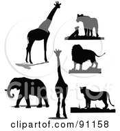 Royalty Free RF Clipart Illustration Of A Digital Collage Of Black Giraffe Lion And Elephant Silhouettes