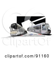 Royalty Free RF Clipart Illustration Of A City Tram Bus Background by leonid