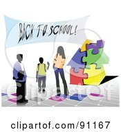 Royalty Free RF Clipart Illustration Of Three School Children By A Puzzle School House And A Back To School Banner by leonid