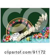 Royalty Free RF Clipart Illustration Of A Green Casino Background 2