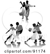 Royalty Free RF Clipart Illustration Of A Digital Collage Of Grayscale Romantic Couples Dancing