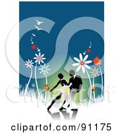 Royalty Free RF Clipart Illustration Of A Romantic Couple Dancing In A Garden Of Giant Flowers by leonid