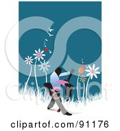 Royalty Free RF Clipart Illustration Of A Romantic Couple Dancing On A Floral Background by leonid