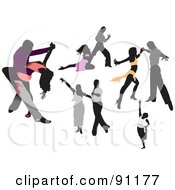 Royalty Free RF Clipart Illustration Of A Digital Collage Of Romantic Couples Dancing by leonid
