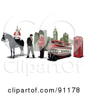 Royalty Free RF Clipart Illustration Of A Guard Gentleman Phone Booth Buildings And Double Decker In London by leonid