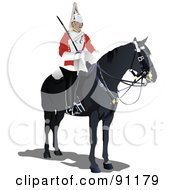 Royalty Free RF Clipart Illustration Of A London Guard On Horseback by leonid