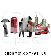 Royalty Free RF Clipart Illustration Of A Lady Phone Booth Gentleman Guard Buildings And Double Decker In London by leonid