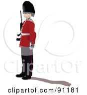 Royalty Free RF Clipart Illustration Of A Beefeater In Uniform With A Shadow by leonid