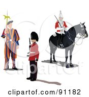 Royalty Free RF Clipart Illustration Of A Digital Collage Of Swiss And London Guards by leonid