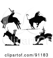 Royalty Free RF Clipart Illustration Of A Digital Collage Of Four Rodeo Silhouettes by leonid