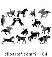 Royalty Free RF Clipart Illustration Of A Digital Collage Of Horse Silhouettes