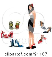 Royalty Free RF Clipart Illustration Of A Faceless Woman In A Dress And Heels Surrounded By Other Shoes