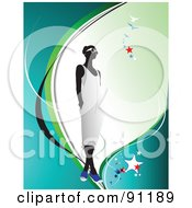 Royalty Free RF Clipart Illustration Of A Faceless Woman In A White Dress On A Blue Background