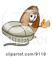 Clipart Picture Of A Football Mascot Cartoon Character With A Computer Mouse by Toons4Biz