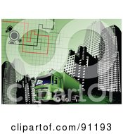 Royalty Free RF Clipart Illustration Of A Green Urban Graph Cargo Truck Background