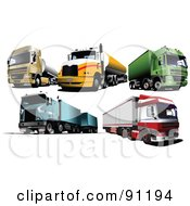 Digital Collage Of Five Cargo Trucks by leonid