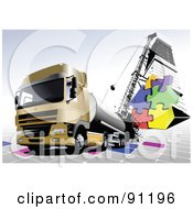 Cargo Truck Background With Puzzle Pieces And Urban Elements by leonid