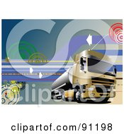 Royalty Free RF Clipart Illustration Of A Hi Tech Cargo Truck Background With Arrows And Lines